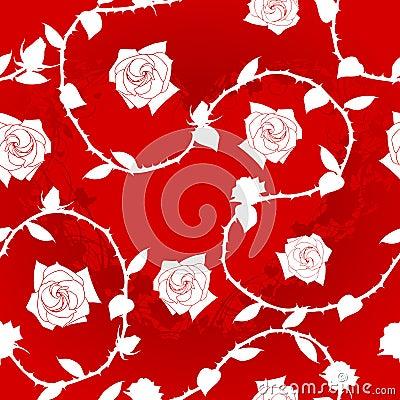 White-on-Red seamless rose sari pattern