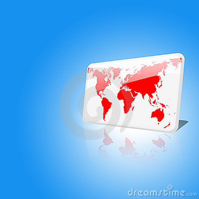 White and red world chip on blue sky background