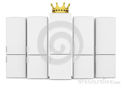 White refrigerators and gold crown