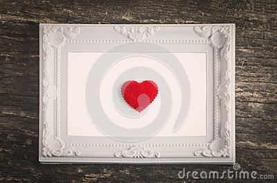 White Retro Frame With Red Heart Stock Photo - Image: 66281795
