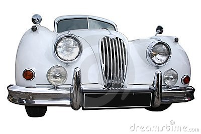 White retro limousine