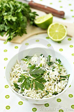 White rice with lime and parsley