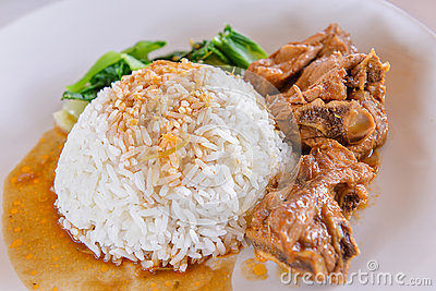 White rice with pork rib and vegetable