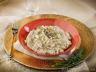 White risotto with gold leaf