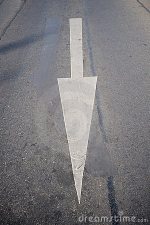 White road arrow