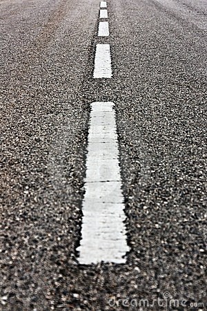 White Road Marks Vertical Royalty Free Stock Photos