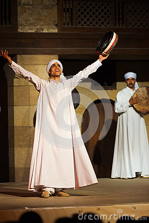 White Robe Sufi Dancer Raised Arms Cairo Editorial Photo