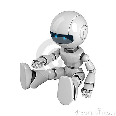 White robot sit