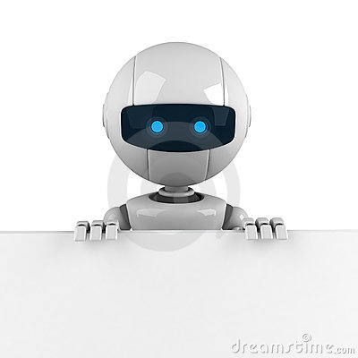 White robot stay with banner
