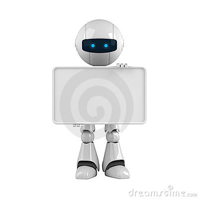 White robot stay with blank banner