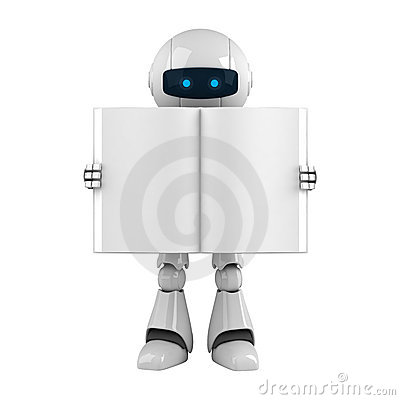 White robot stay with blank book