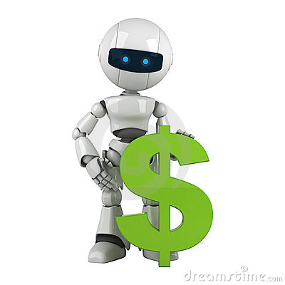 White robot stay with green dollar