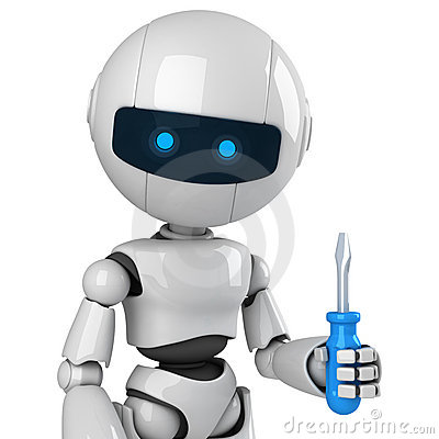 White robot stay with screwdriver