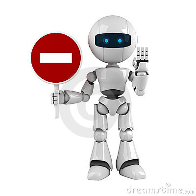 White robot stay with stop sign