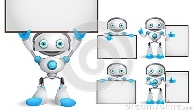 White robot vector characters set standing and holding empty blank white board Vector Illustration