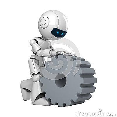 White robot walk with cogwheel