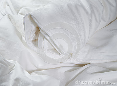 White roll up blanket