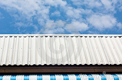 The white roof with blue sky