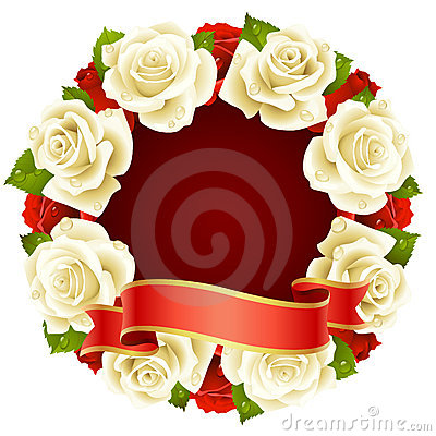 White Rose Frame in the shape of round