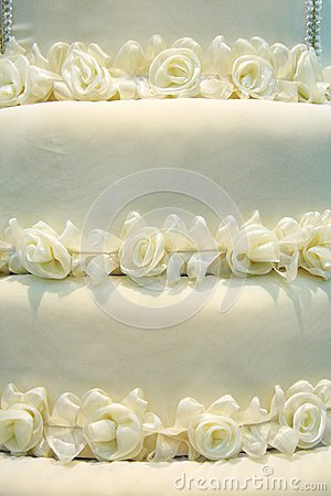 White roses from cloth on  white background