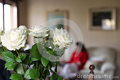 White roses and living room
