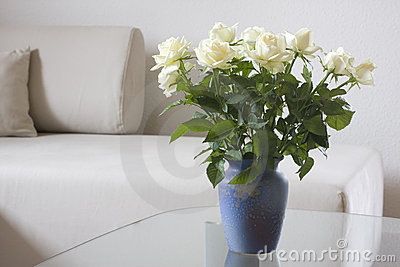 White roses in a living room