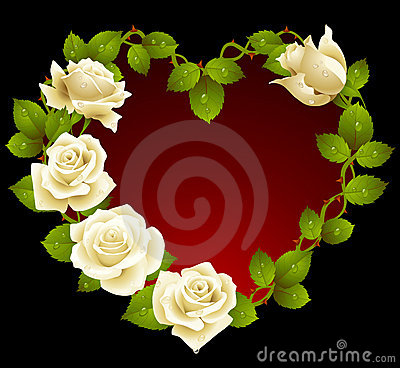 White roses in the shape of heart