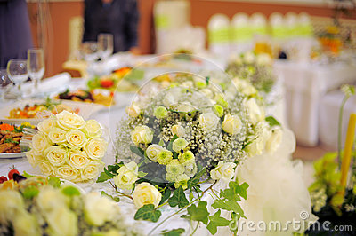 White Roses on Table