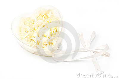 White Roses in transparent heart