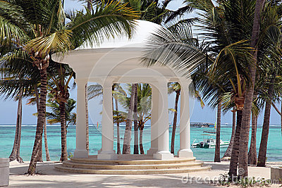 Dominican Republic, Punta Cana - white rotunda for weddings on a tropical beach