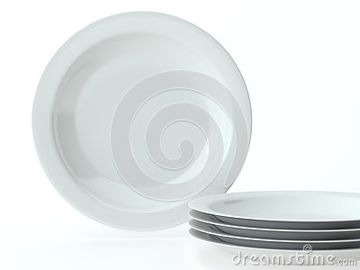 White round ceramic dishes set