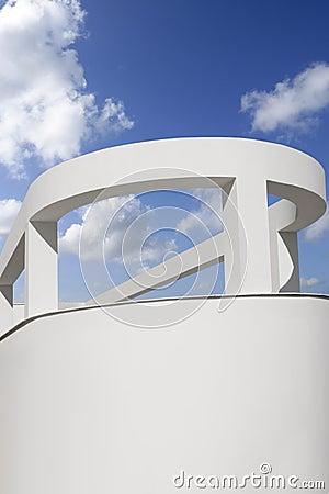 White round portico columns blue sky