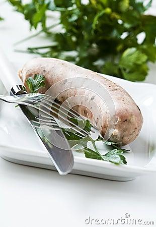White rustic sausage