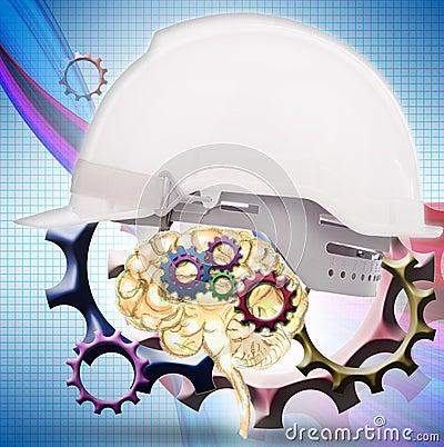 White safety helmet cover brain gear inside