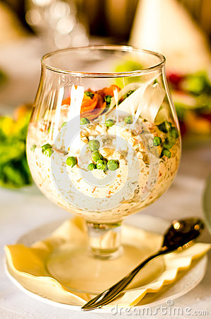 White salad in glass
