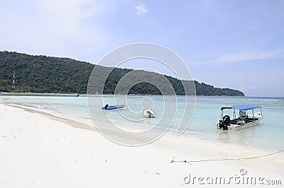 White sand beach and blue sea in Malaysia island