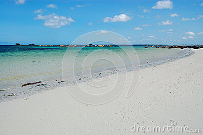 white sand beach, bretagne, france