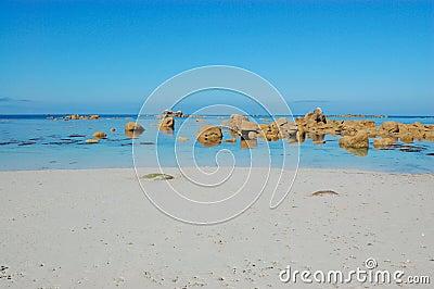 White sand beach, bretagne, france
