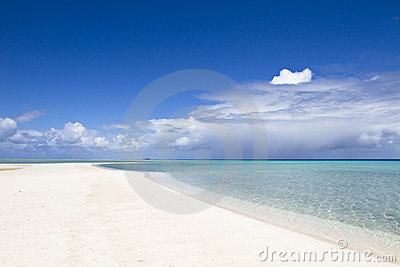 White sand beach and turquoise lagoon