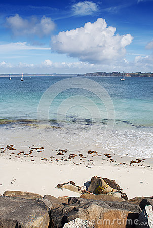 White sand beach and turquoise water in Camaret Sur Mer, France