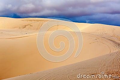 White sand dunes before storm, Mui Ne, Vietnam