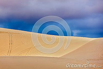 White sand dunes before storm, Vetnam