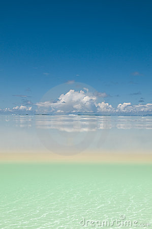 White sand under surface of water