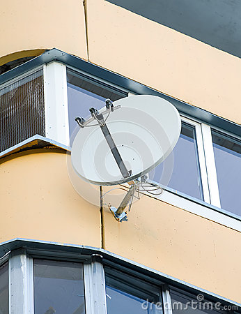 White sat TV dish