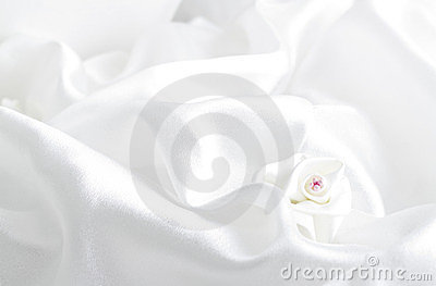 White satin fabric roses