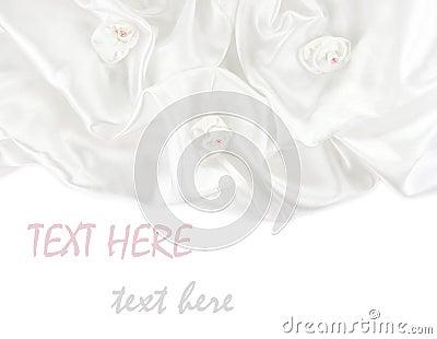 White satin fabric roses