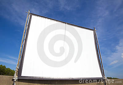 White screen for cinema on outdoor