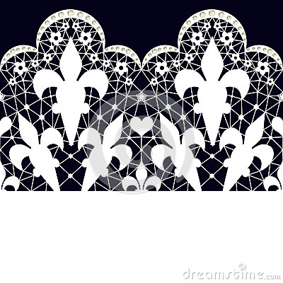 White seamless lace pattern on black