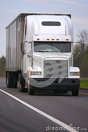 White Semi Truck on Road