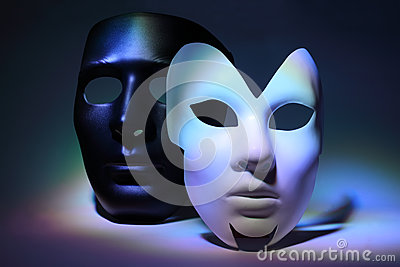 White serious mask and black mask